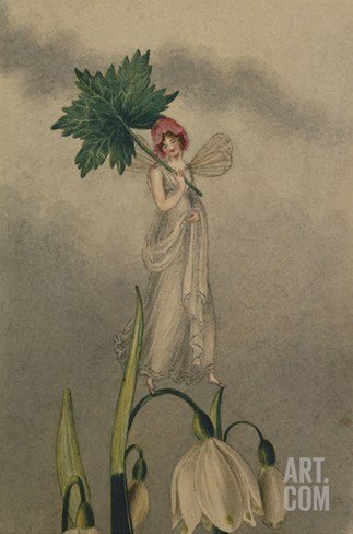 A Fairy Standing on Tiptoes on a Snowdrop Stretched Canvas Print