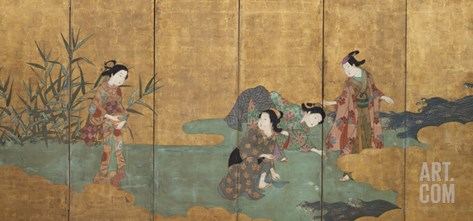 One of a Pair of Six-Leaf Screens Depicting a Group of Three Young Women and an Actor Collecting… Stretched Canvas Print