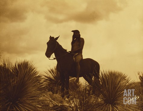 The Scout, Apache Stretched Canvas Print