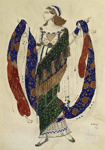 Costume Design for Cleopatra - a Dancer Stretched Canvas Print