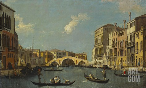 The Cannaregio, Venice, with Palazzo Testa, Palazzo Surian-Bellotto and the Ponte Dei Tre Archi,… Stretched Canvas Print