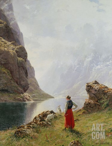 A Girl with Goats by a Fjord Stretched Canvas Print