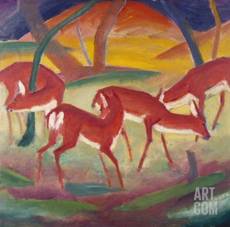 Red Deer; Rote Rehe 1 Stretched Canvas Print