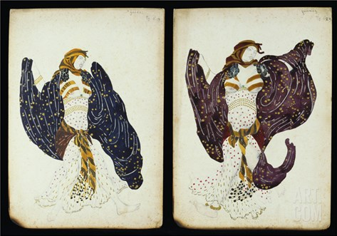 A Pair of Costume Designs for 'Juive' Depicting Female Dancers Stretched Canvas Print