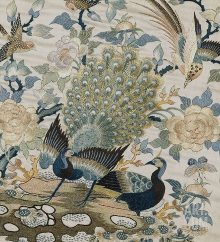 An Embroidered Roundel of Cream Satin, with a Pair of Peacocks and Other Birds Among Flowers Stretched Canvas Print