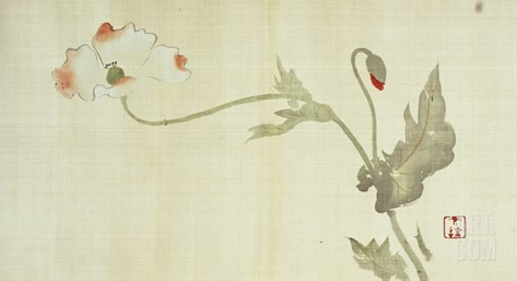 Poppy from Primrose, Mount Fuji, Bamboo and Toy Bird, Kanzan and Jittoku, Cuckoo under the Moon,… Stretched Canvas Print
