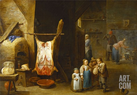 The Interior of a Peasant's Cottage with a Pig's Carcass and a Boy Blowing Up its Bladder, a Man… Stretched Canvas Print