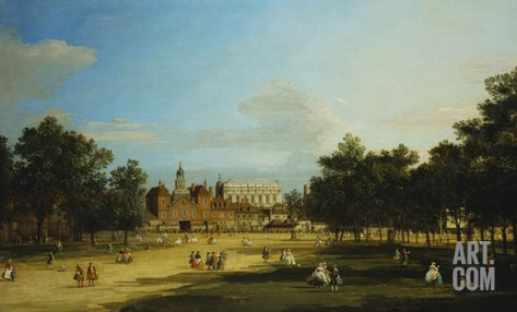 London: the Old Horse Guards and the Banqueting Hall, Whitehall, from St. James's Park, with… Stretched Canvas Print