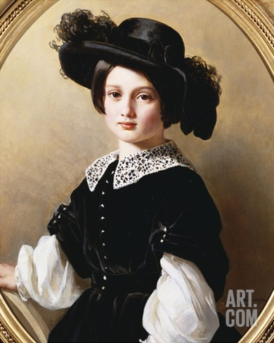 Portrait of a Young Girl, Half Length, Wearing a Black Velvet Costume with  Stretched Canvas Print