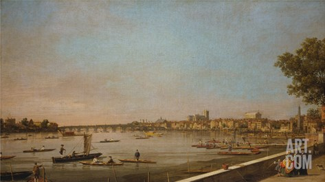 London: the Thames at Westminster and Whitehall from the Terrace of Somerset House Stretched Canvas Print