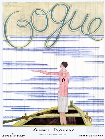 Vogue Cover - June 1927 Stretched Canvas Print