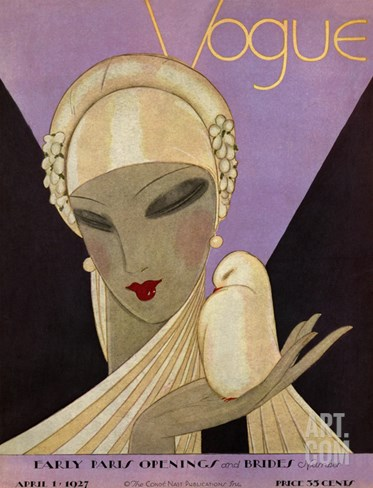 Vogue Cover - April 1927 Stretched Canvas Print