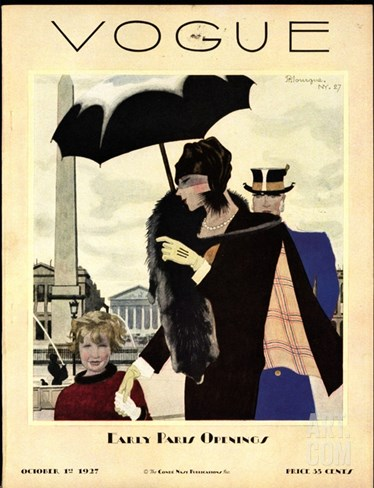 Vogue Cover - October 1927 Stretched Canvas Print