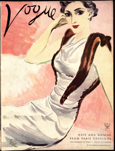Vogue Cover - September 1933 Stretched Canvas Print