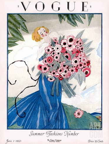 Vogue Cover - June 1923 Stretched Canvas Print