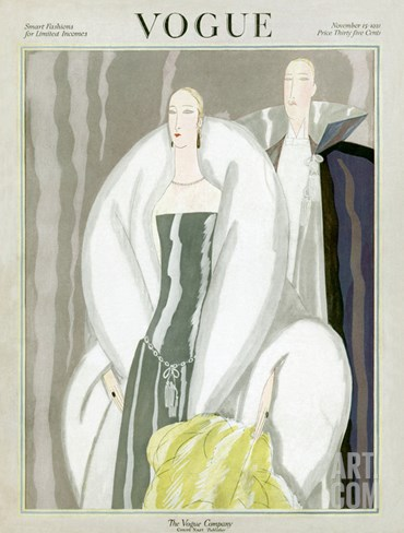 Vogue Cover - November 1921 Stretched Canvas Print