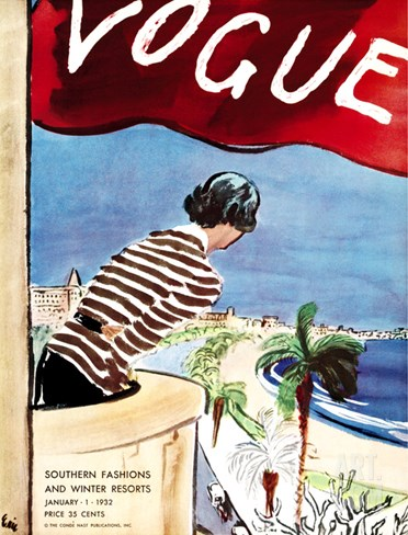 Vogue Cover - January 1932 Stretched Canvas Print