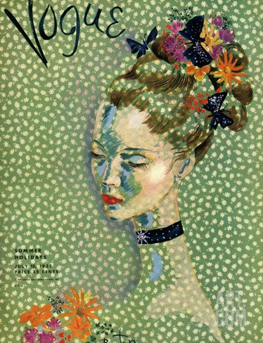 Vogue Cover - July 1935 Stretched Canvas Print