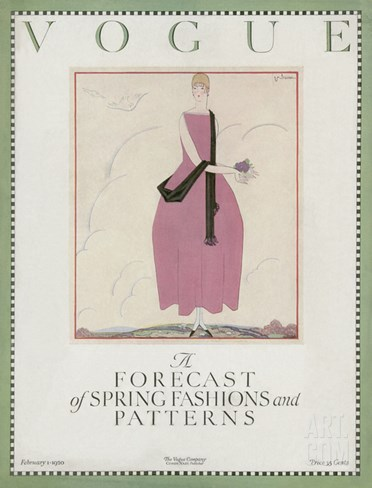 Vogue Cover - February 1920 Stretched Canvas Print