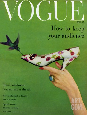 Vogue Cover - April 1957 Stretched Canvas Print