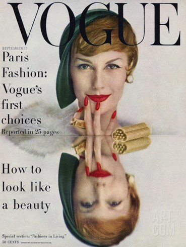 Vogue Cover - September 1957 Stretched Canvas Print
