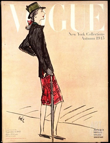 Vogue Cover - September 1945 Stretched Canvas Print
