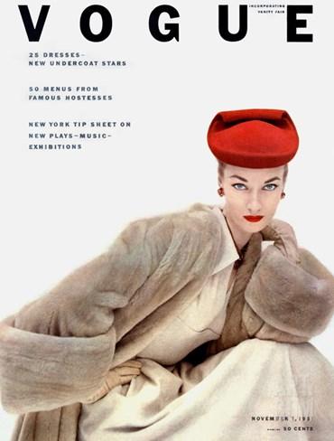 Vogue Cover - November 1951 Stretched Canvas Print