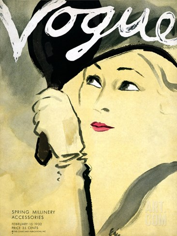 Vogue Cover - February 1932 Stretched Canvas Print