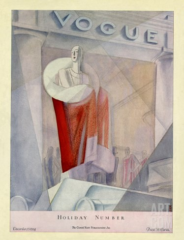 Vogue Cover - December 1924 Stretched Canvas Print