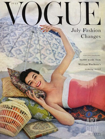 Vogue Cover - July 1954 Stretched Canvas Print