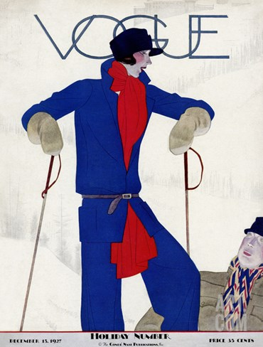 Vogue Cover - December 1927 Stretched Canvas Print