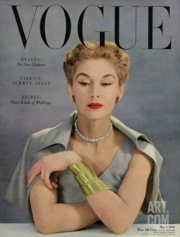 Vogue Cover - May 1950 Stretched Canvas Print