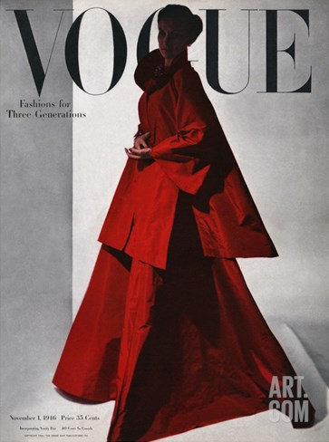 Vogue Cover - November 1946 - Red Gown Stretched Canvas Print
