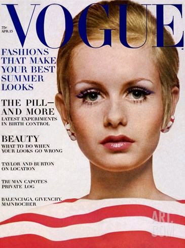 Vogue Cover - April 1967 Stretched Canvas Print