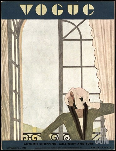 Vogue Cover - September 1930 Stretched Canvas Print