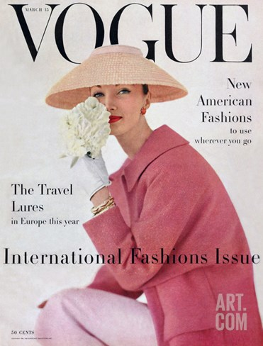 Vogue Cover - March 1956 Stretched Canvas Print