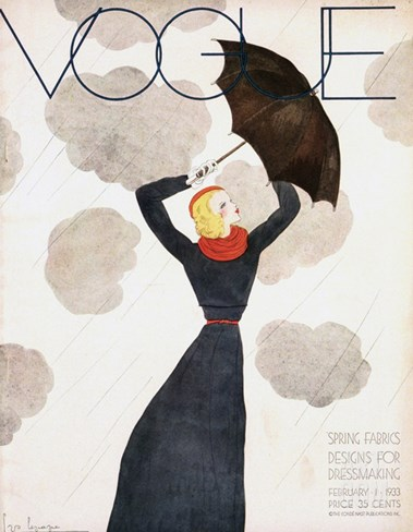 Vogue Cover - February 1933 Stretched Canvas Print