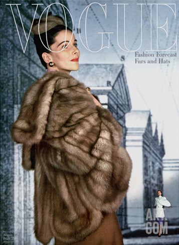 Vogue Cover - August 1945 Stretched Canvas Print