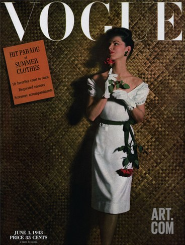 Vogue Cover - June 1943 Stretched Canvas Print