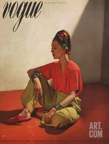 Vogue Cover - April 1939 Stretched Canvas Print
