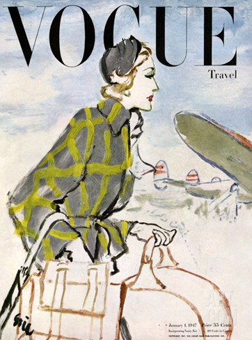 Vogue Cover - January 1947 - Travel Fashion Stretched Canvas Print