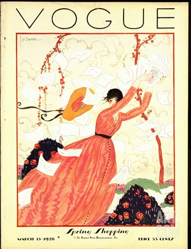 Vogue Cover - February 1928 Stretched Canvas Print