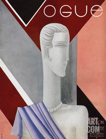 Vogue Cover - October 1928 Stretched Canvas Print