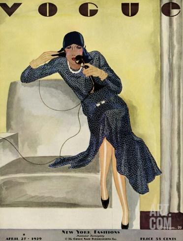 Vogue Cover - April 1929 Stretched Canvas Print