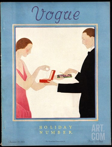 Vogue Cover - December 1923 Stretched Canvas Print