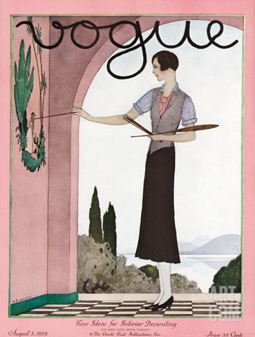 Vogue Cover - August 1929 Stretched Canvas Print