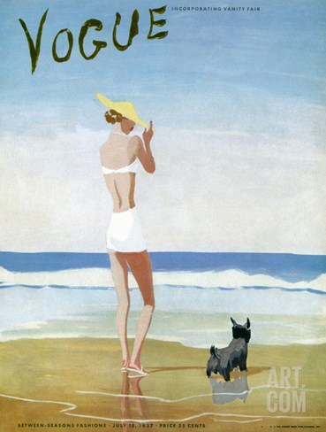 Vogue Cover - July 1937 Stretched Canvas Print
