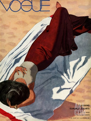 Vogue Cover - July 1933 Stretched Canvas Print