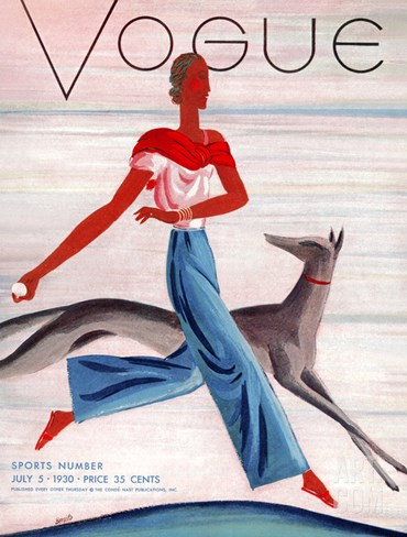 Vogue Cover - July 1930 Stretched Canvas Print