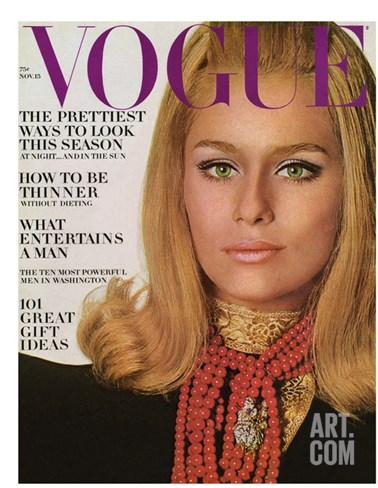Vogue Cover - November 1966 Stretched Canvas Print
